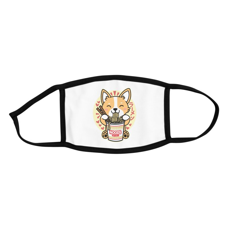 Corgi Eating Instant Noodles Accessories Face Mask by Detour Shirt's Artist Shop