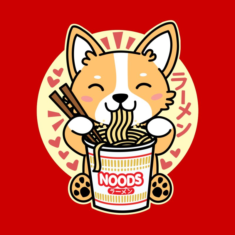 Corgi Eating Instant Noodles Men's Longsleeve T-Shirt by Detour Shirt's Artist Shop