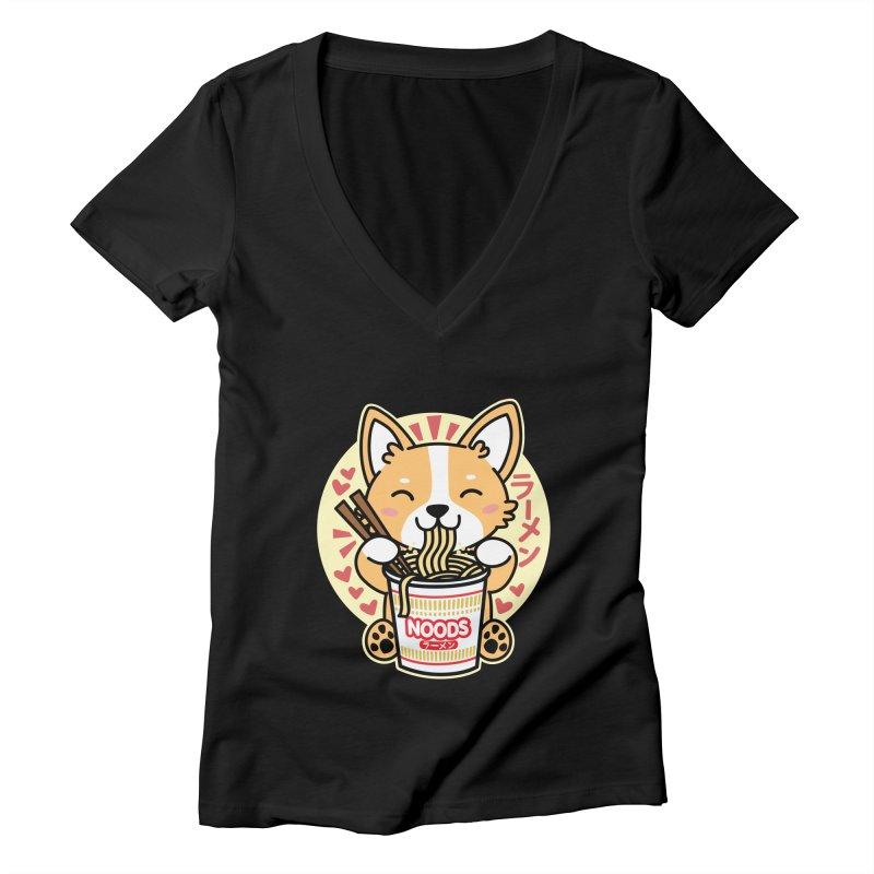 Corgi Eating Instant Noodles Women's V-Neck by Detour Shirt's Artist Shop