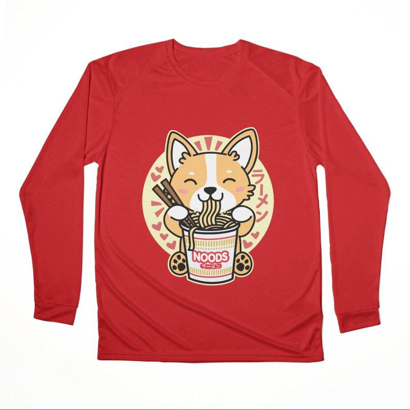 Corgi Eating Instant Noodles Men's Longsleeve T-Shirt by Detour Shirt's Artist Shop