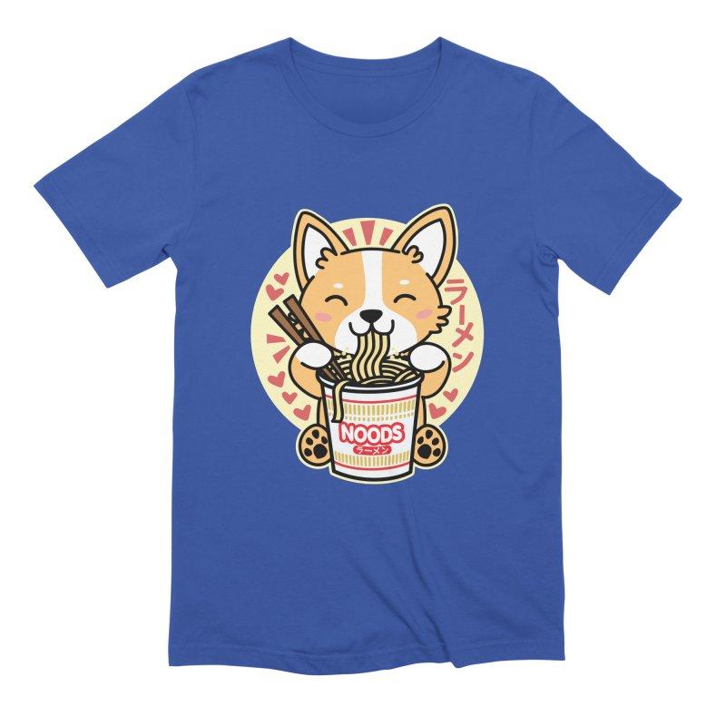 Corgi Eating Instant Noodles Men's T-Shirt by Detour Shirt's Artist Shop