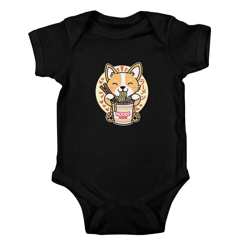 Corgi Eating Instant Noodles Kids Baby Bodysuit by Detour Shirt's Artist Shop