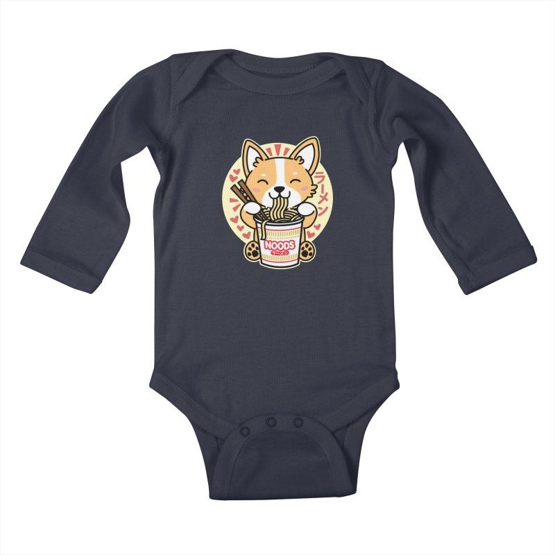 Corgi Eating Instant Noodles Kids Baby Longsleeve Bodysuit by Detour Shirt's Artist Shop