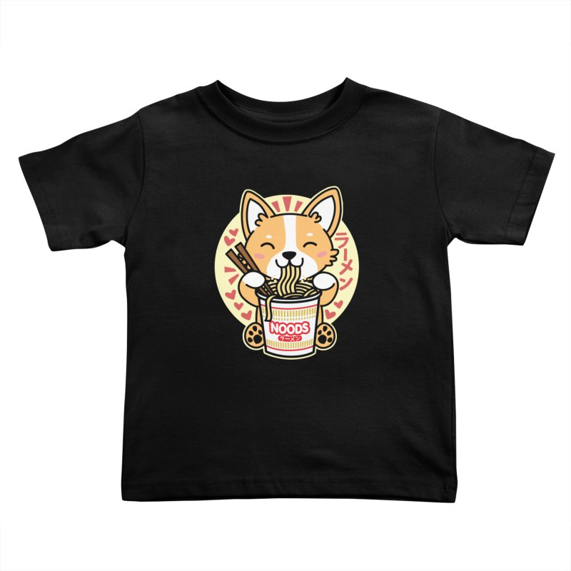 Corgi Eating Instant Noodles Kids Toddler T-Shirt by Detour Shirt's Artist Shop