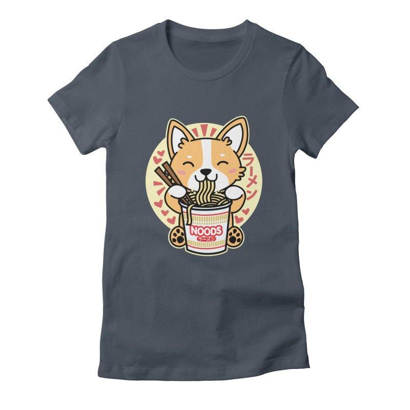 Corgi Eating Instant Noodles Women's T-Shirt by Detour Shirt's Artist Shop
