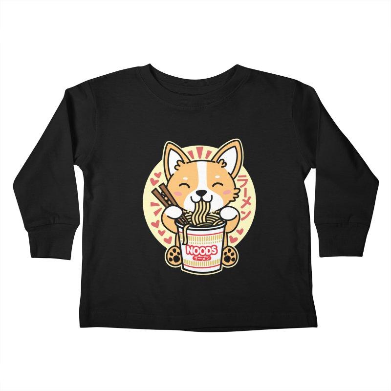 Corgi Eating Instant Noodles Kids Toddler Longsleeve T-Shirt by Detour Shirt's Artist Shop