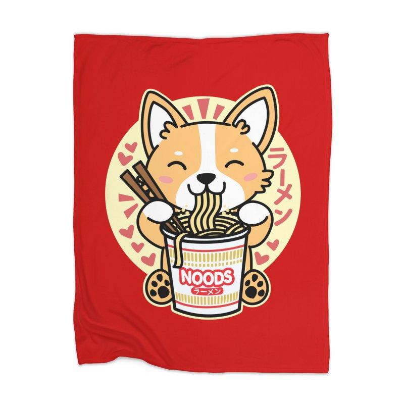 Corgi Eating Instant Noodles Home Blanket by Detour Shirt's Artist Shop