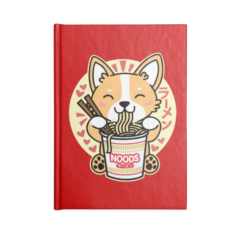 Corgi Eating Instant Noodles Accessories Notebook by Detour Shirt's Artist Shop