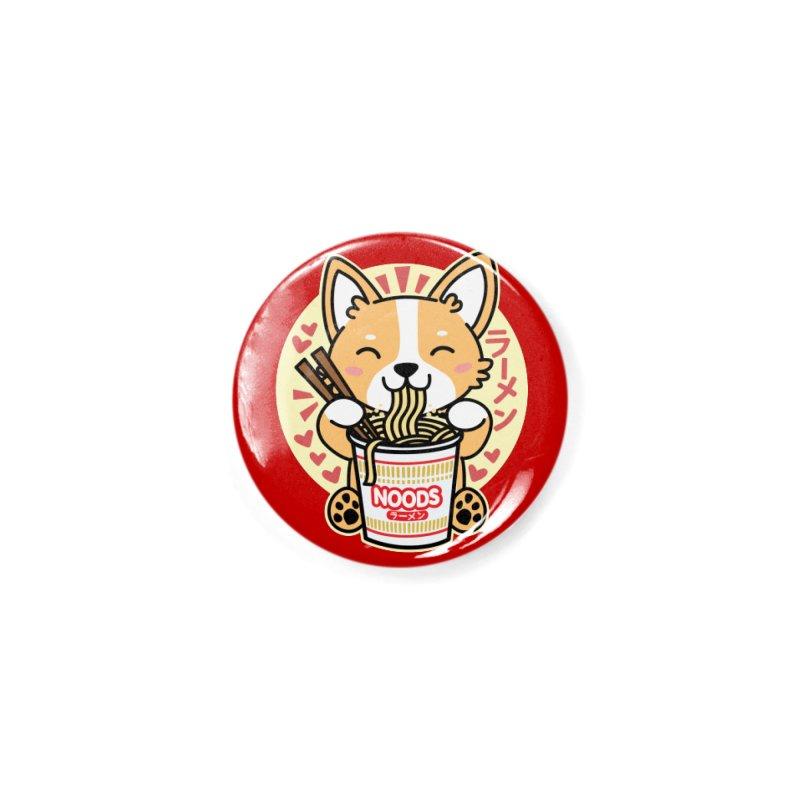 Corgi Eating Instant Noodles Accessories Button by Detour Shirt's Artist Shop