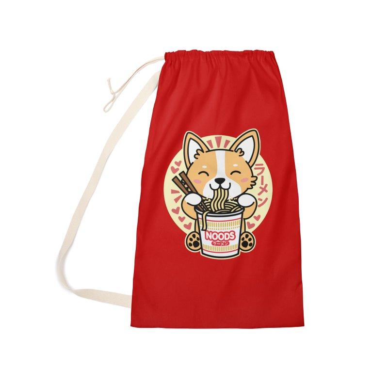Corgi Eating Instant Noodles Accessories Bag by Detour Shirt's Artist Shop