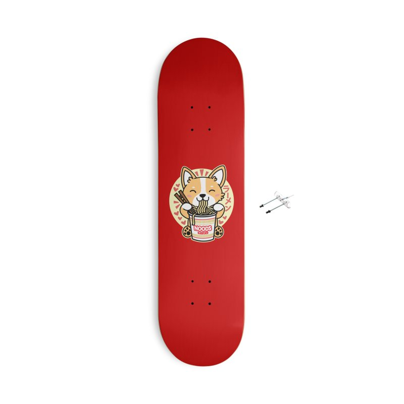 Corgi Eating Instant Noodles Accessories Skateboard by Detour Shirt's Artist Shop