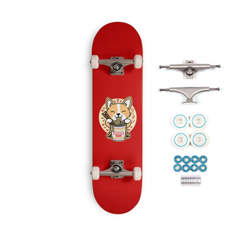 Corgi Eating Instant Noodles Accessories Skateboard by Detour Shirt's Artist Shop
