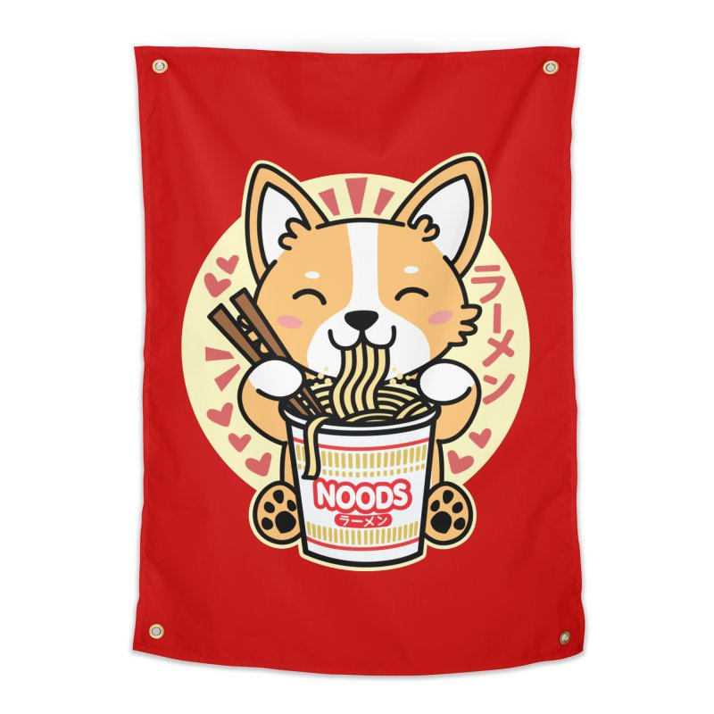 Corgi Eating Instant Noodles Home Tapestry by Detour Shirt's Artist Shop