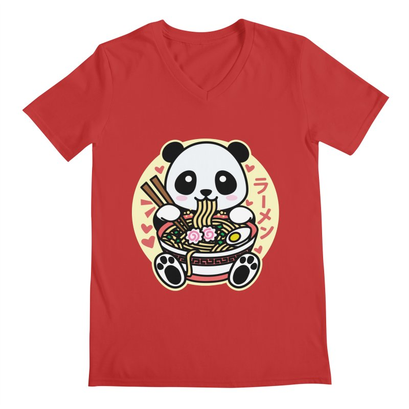 Panda Eating Ramen Men's V-Neck by Detour Shirt's Artist Shop