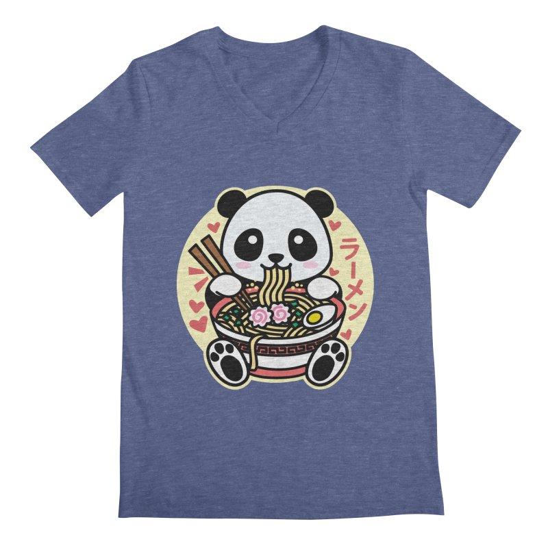 Panda Eating Ramen Men's V-Neck by Detour Shirt's Artist Shop