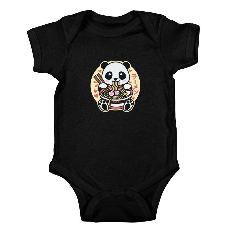 Panda Eating Ramen Kids Baby Bodysuit by Detour Shirt's Artist Shop