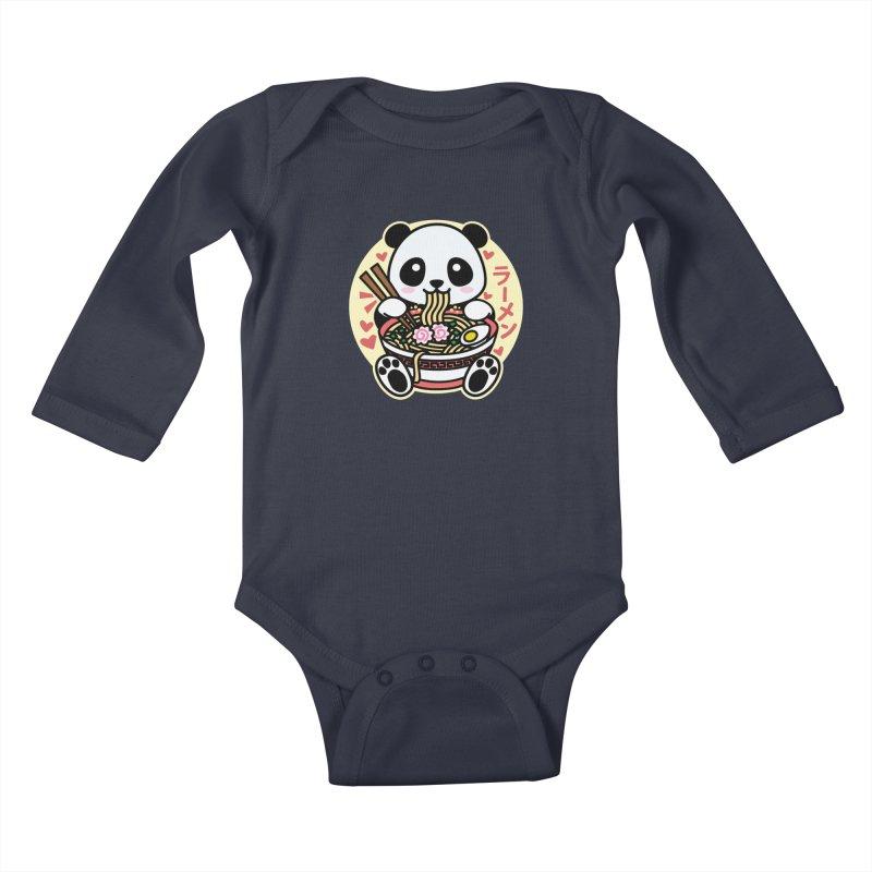 Panda Eating Ramen Kids Baby Longsleeve Bodysuit by Detour Shirt's Artist Shop