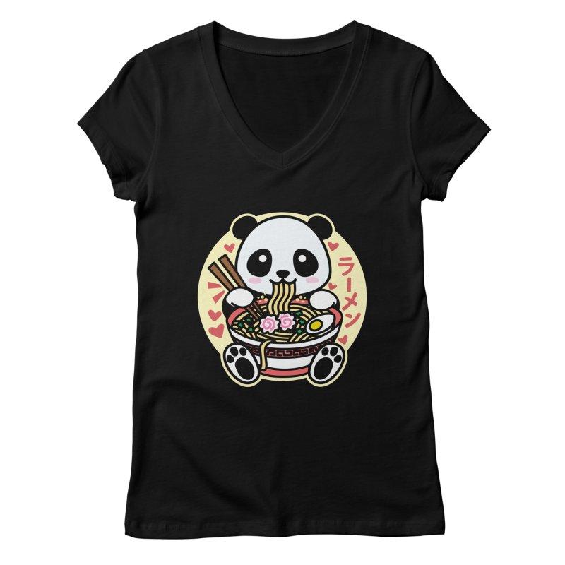 Panda Eating Ramen Women's V-Neck by Detour Shirt's Artist Shop