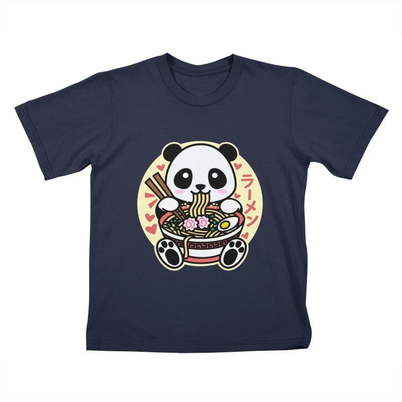 Panda Eating Ramen Kids T-Shirt by Detour Shirt's Artist Shop