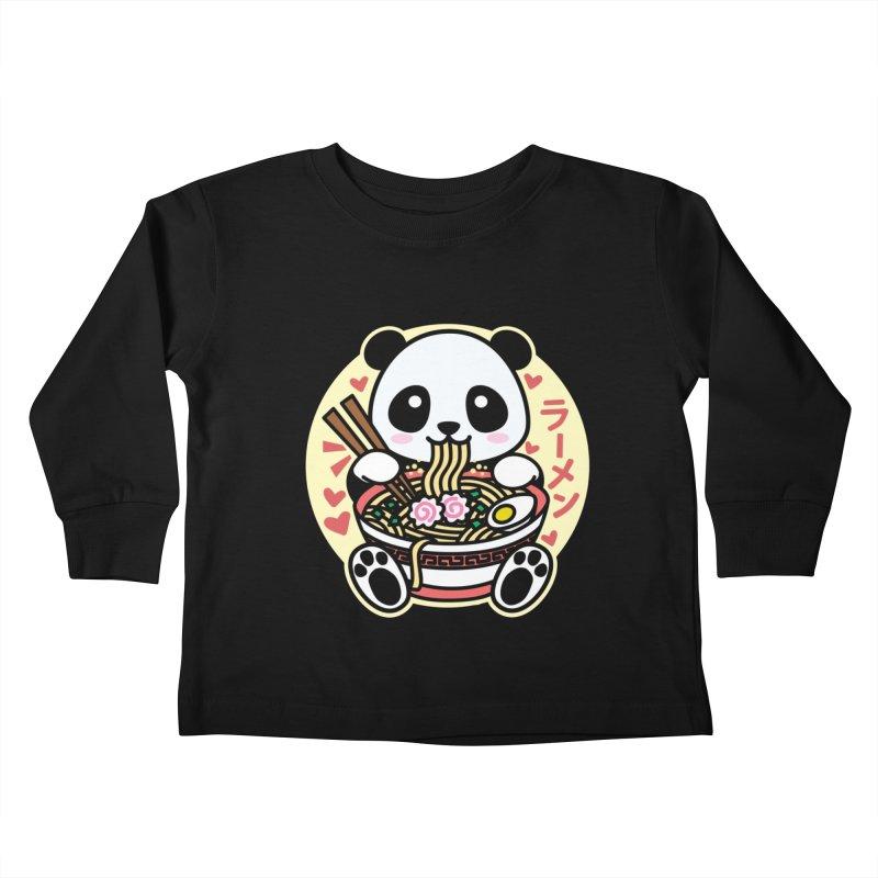 Panda Eating Ramen Kids Toddler Longsleeve T-Shirt by Detour Shirt's Artist Shop