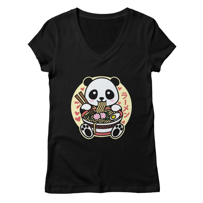 Panda Eating Ramen Women's V-Neck by Detour Shirt's Artist Shop