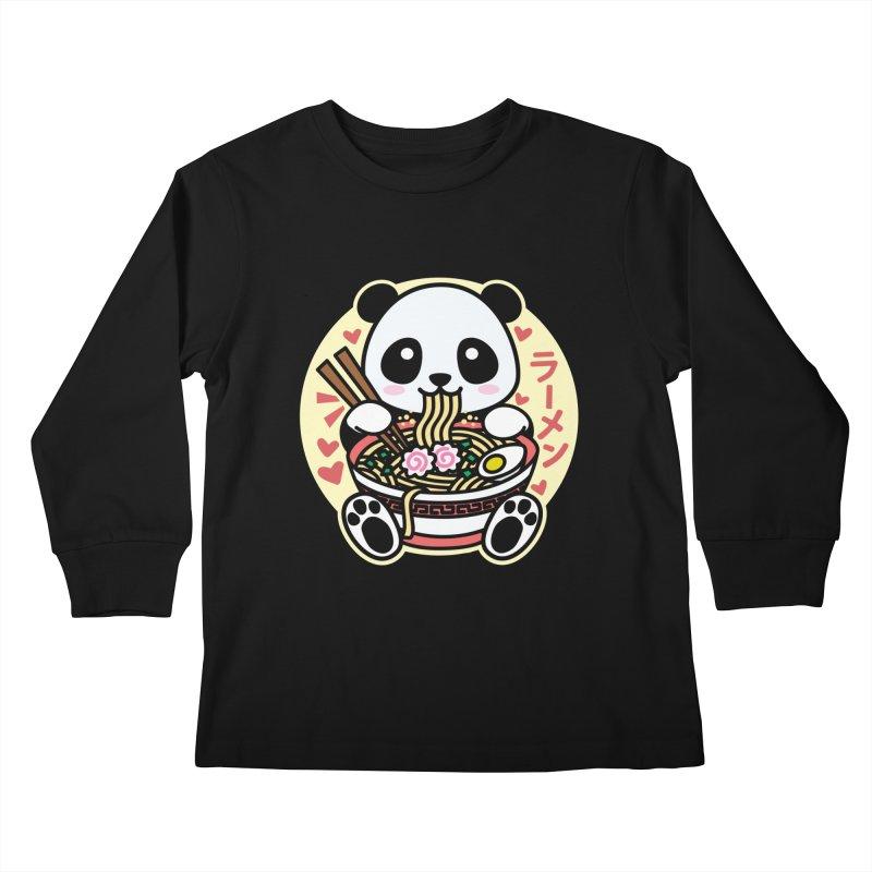 Panda Eating Ramen Kids Longsleeve T-Shirt by Detour Shirt's Artist Shop