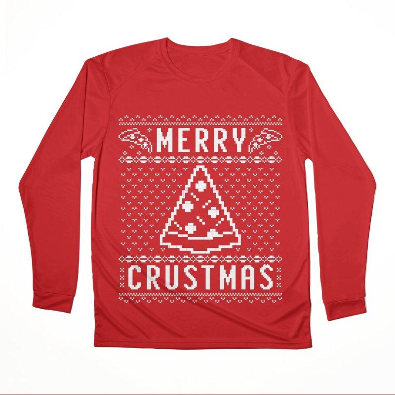 Merry Crustmas Pizza Christmas Sweater Design Women's Longsleeve T-Shirt by Detour Shirt's Artist Shop