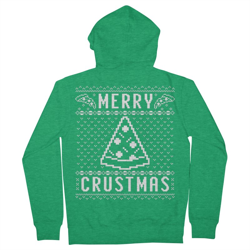 Merry Crustmas Pizza Christmas Sweater Design Women's Zip-Up Hoody by Detour Shirt's Artist Shop
