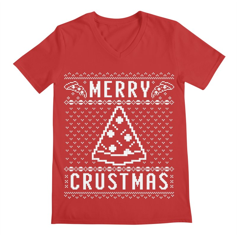 Merry Crustmas Pizza Christmas Sweater Design Men's V-Neck by Detour Shirt's Artist Shop