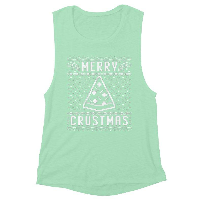 Merry Crustmas Pizza Christmas Sweater Design Women's Tank by Detour Shirt's Artist Shop