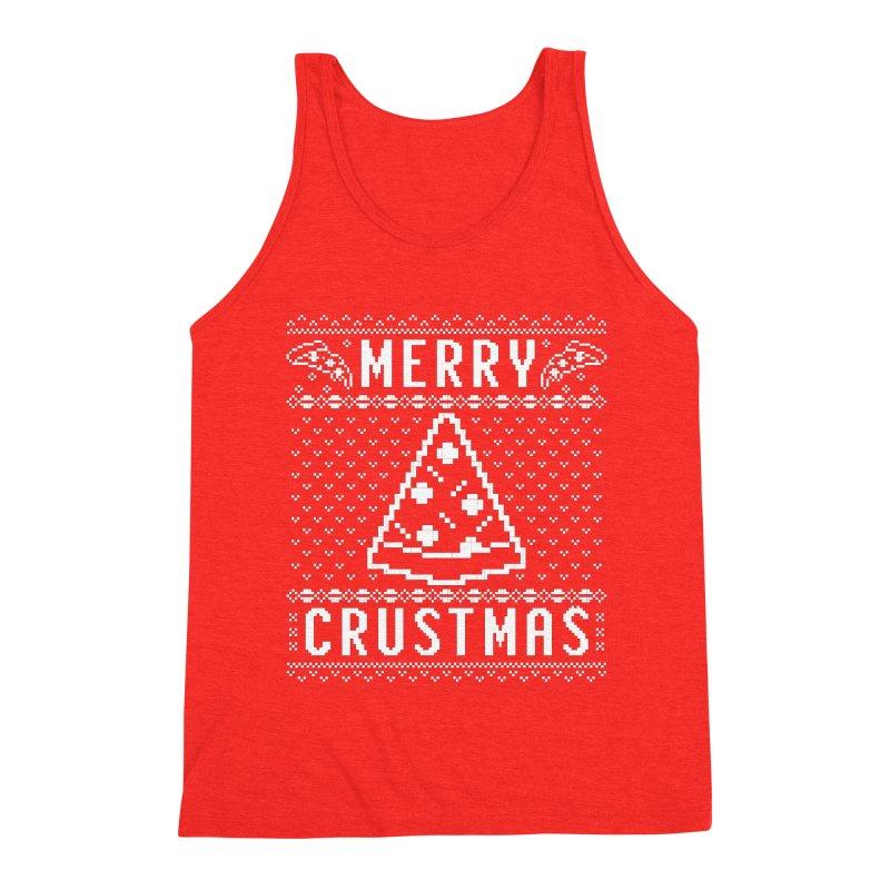 Merry Crustmas Pizza Christmas Sweater Design Men's Tank by Detour Shirt's Artist Shop