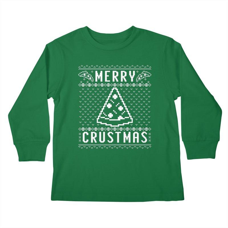 Merry Crustmas Pizza Christmas Sweater Design Kids Longsleeve T-Shirt by Detour Shirt's Artist Shop