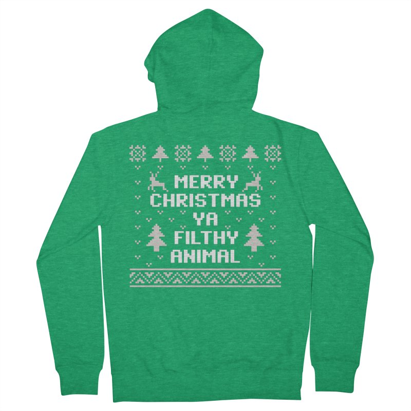 Merry Christmas Ya Filthy Animal Men's Zip-Up Hoody by detourshirts's Artist Shop