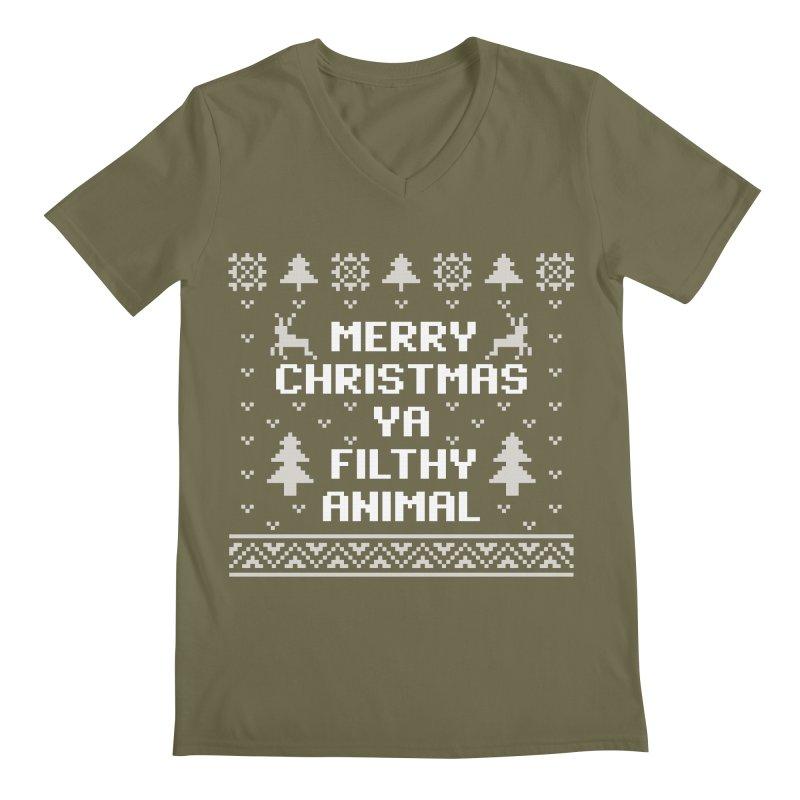 Merry Christmas Ya Filthy Animal Men's V-Neck by detourshirts's Artist Shop