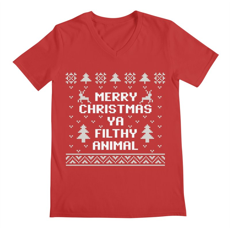 Merry Christmas Ya Filthy Animal Men's V-Neck by detourshirts's Artist Shop