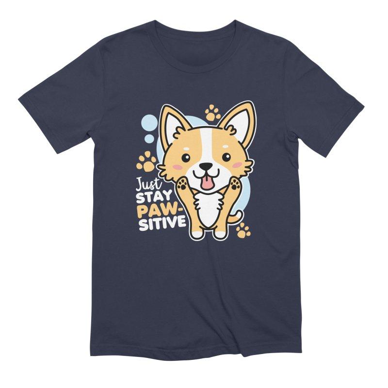 Just Stay Pawsitive Men's Extra Soft T-Shirt by Detour Shirt's Artist Shop