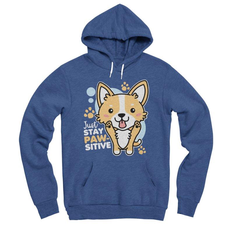 Just Stay Pawsitive Men's Sponge Fleece Pullover Hoody by Detour Shirt's Artist Shop