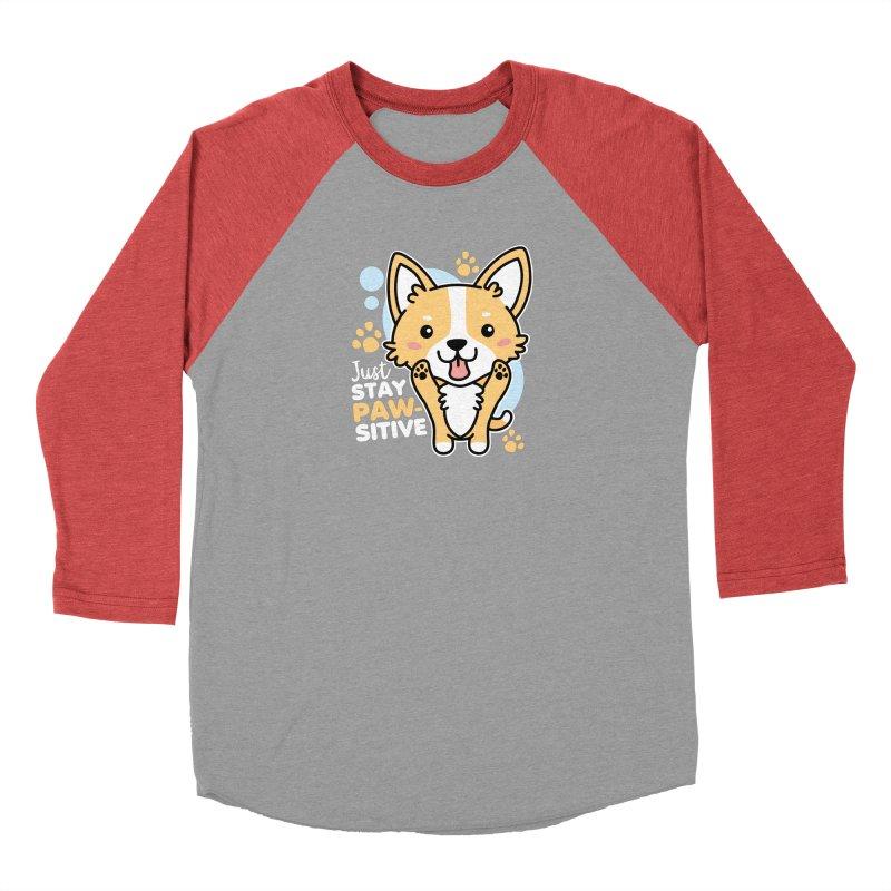 Just Stay Pawsitive Men's Baseball Triblend Longsleeve T-Shirt by Detour Shirt's Artist Shop
