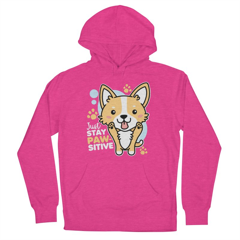 Just Stay Pawsitive Men's French Terry Pullover Hoody by Detour Shirt's Artist Shop