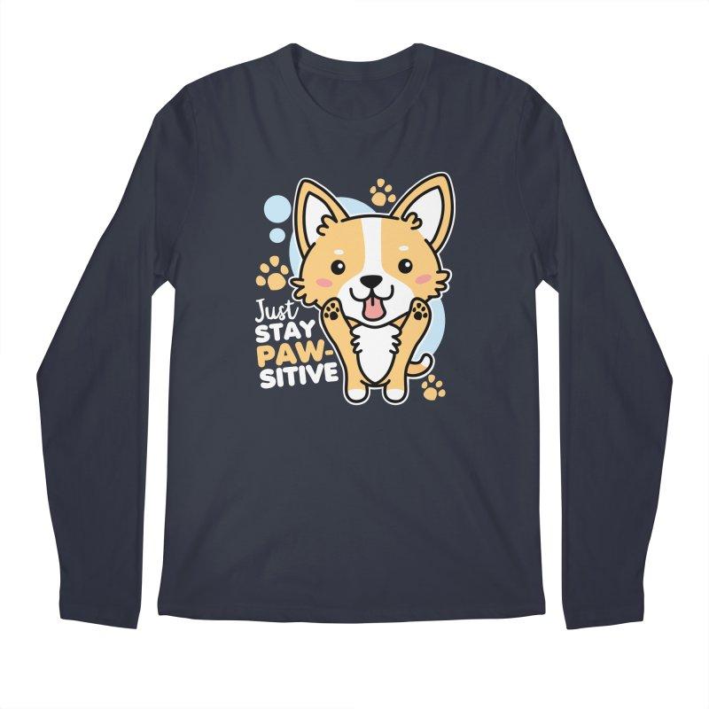 Just Stay Pawsitive Men's Regular Longsleeve T-Shirt by Detour Shirt's Artist Shop