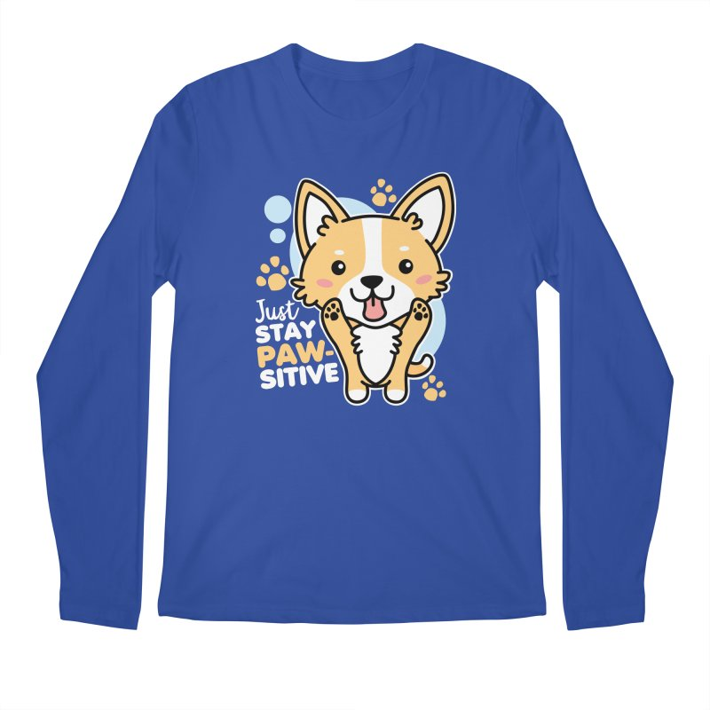 Just Stay Pawsitive Men's Regular Longsleeve T-Shirt by Detour Shirt's Artist Shop