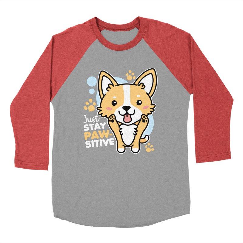 Just Stay Pawsitive Women's Baseball Triblend Longsleeve T-Shirt by Detour Shirt's Artist Shop