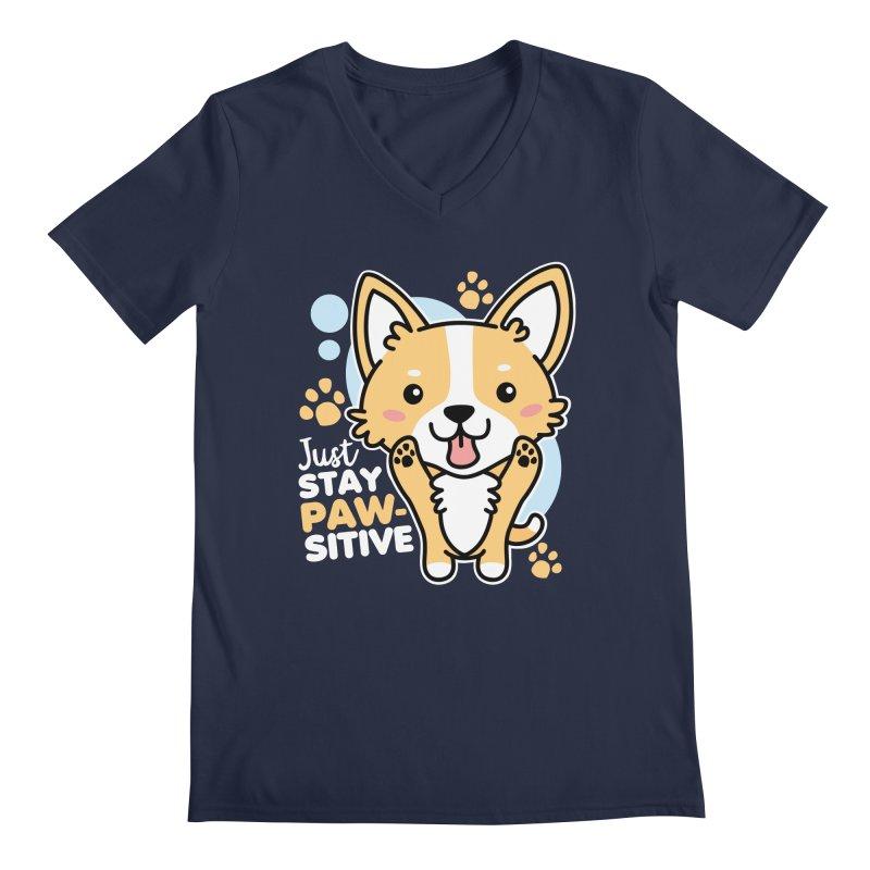 Just Stay Pawsitive Men's Regular V-Neck by Detour Shirt's Artist Shop