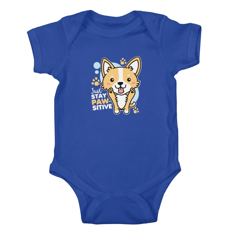 Just Stay Pawsitive Kids Baby Bodysuit by Detour Shirt's Artist Shop