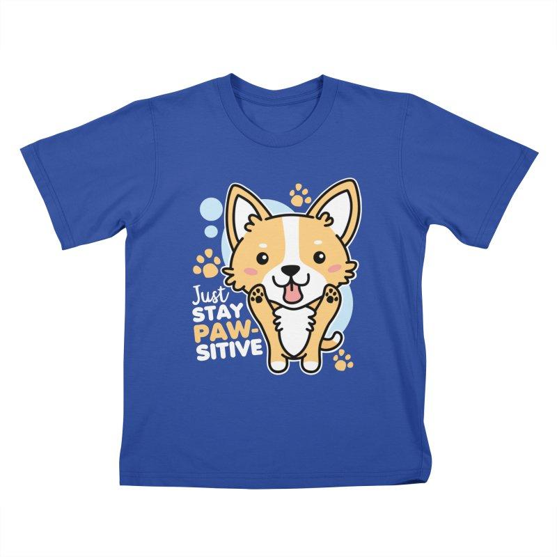 Just Stay Pawsitive Kids T-Shirt by Detour Shirt's Artist Shop