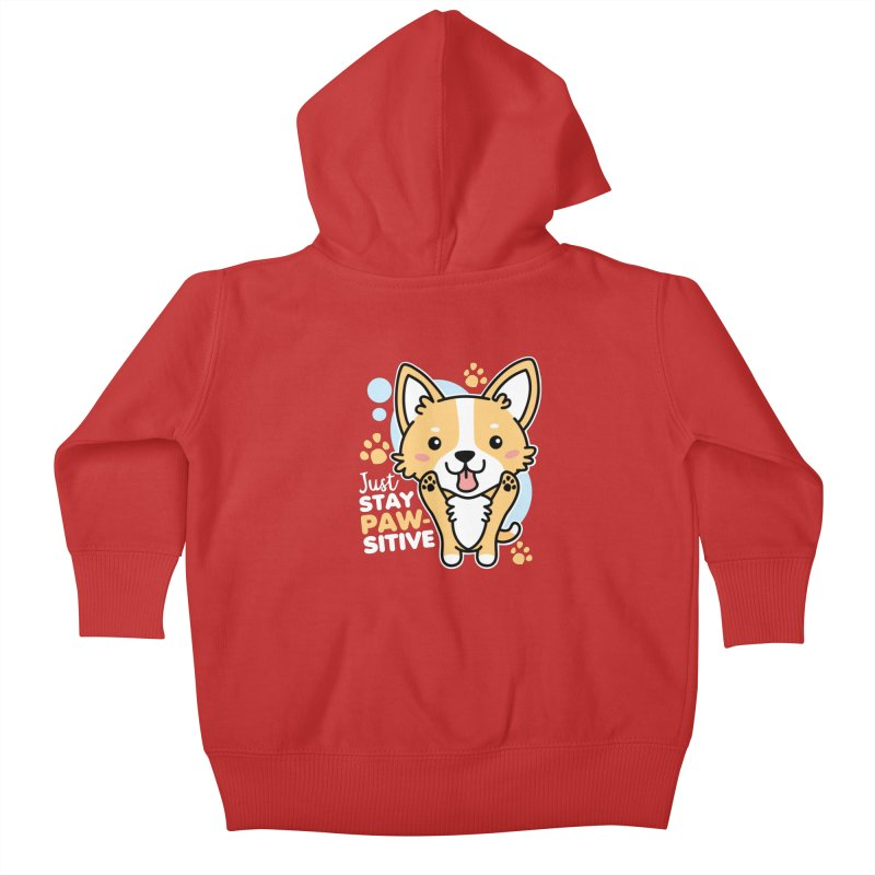 Just Stay Pawsitive Kids Baby Zip-Up Hoody by Detour Shirt's Artist Shop