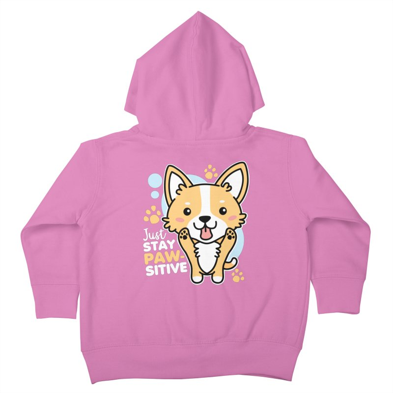 Just Stay Pawsitive Kids Toddler Zip-Up Hoody by Detour Shirt's Artist Shop
