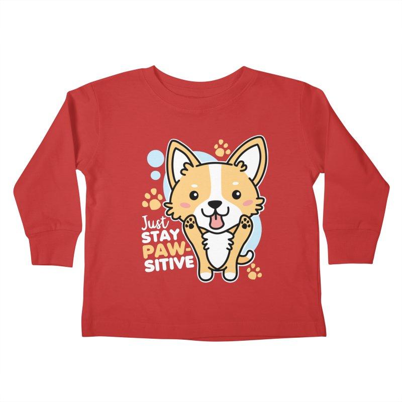 Just Stay Pawsitive Kids Toddler Longsleeve T-Shirt by Detour Shirt's Artist Shop
