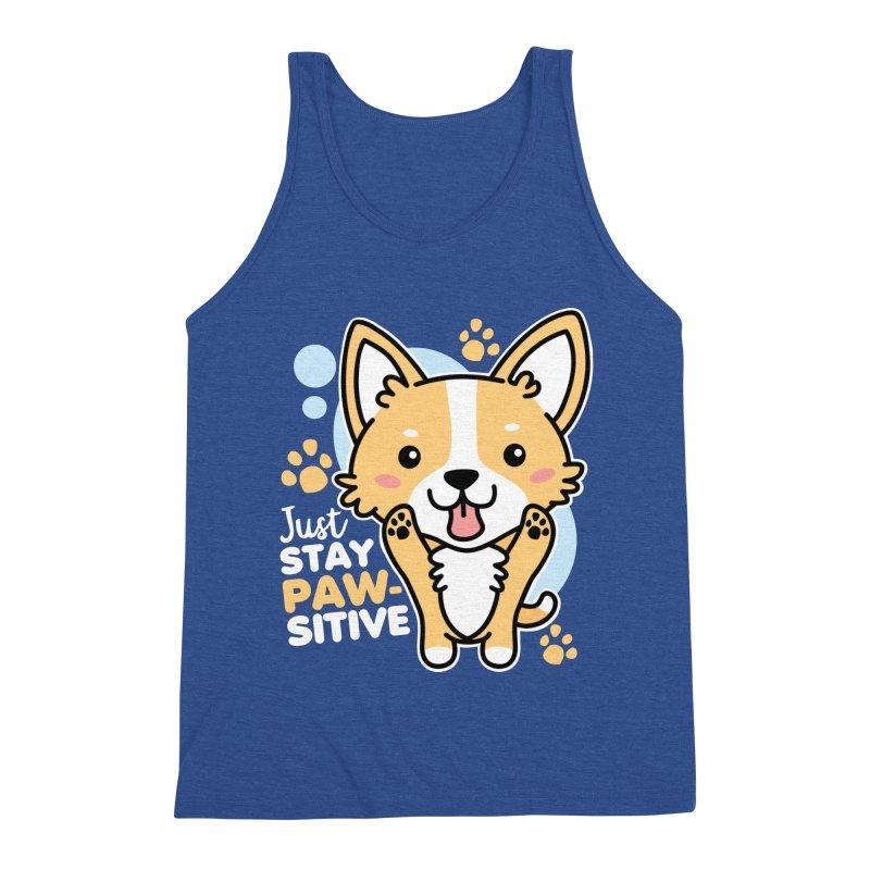 Just Stay Pawsitive Men's Triblend Tank by Detour Shirt's Artist Shop