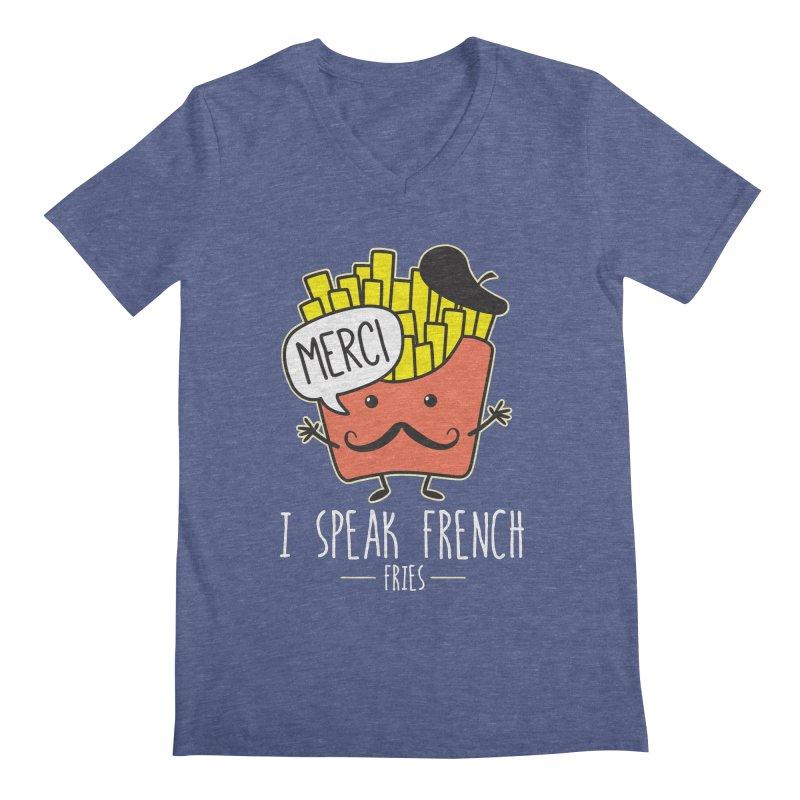 I Speak French Fries Men's Regular V-Neck by Detour Shirt's Artist Shop